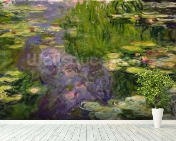 Waterlilies (oil on canvas) wallpaper mural room setting