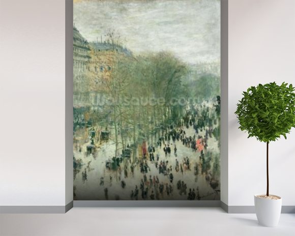 Boulevard des Capucines, 1873-4 (oil on canvas) mural wallpaper room setting