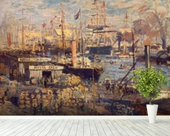 Grand Quai at Havre, 1872 (oil on canvas) wall mural room setting
