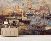 Grand Quai at Havre, 1872 (oil on canvas) wall mural living room preview