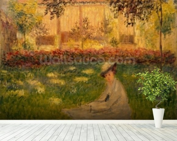 Woman in a Garden, 1876 (oil on canvas) wallpaper mural room setting