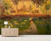 Woman in a Garden, 1876 (oil on canvas) wallpaper mural living room preview
