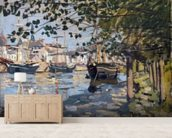 Seine at Rouen, 1872 (oil on canvas) mural wallpaper living room preview