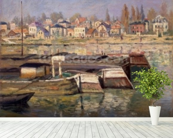 Seine at Asnieres, 1873 (oil on canvas) wall mural room setting