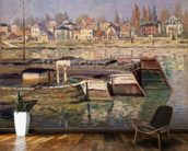 Seine at Asnieres, 1873 (oil on canvas) wall mural kitchen preview