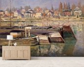 Seine at Asnieres, 1873 (oil on canvas) wall mural living room preview