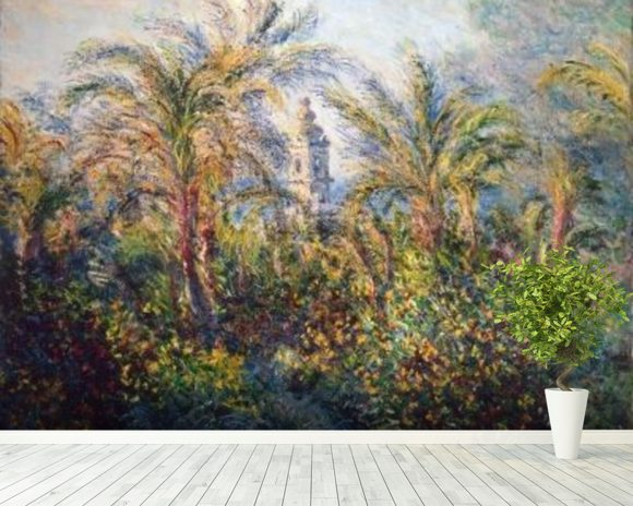 Garden in Bordighera, Impression of Morning, 1884 (oil on canvas) wallpaper mural room setting