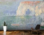 Etretat: Le Manneport, reflections on the water, 1885 (oil on canvas) mural wallpaper kitchen preview