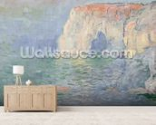 Etretat: Le Manneport, reflections on the water, 1885 (oil on canvas) mural wallpaper living room preview