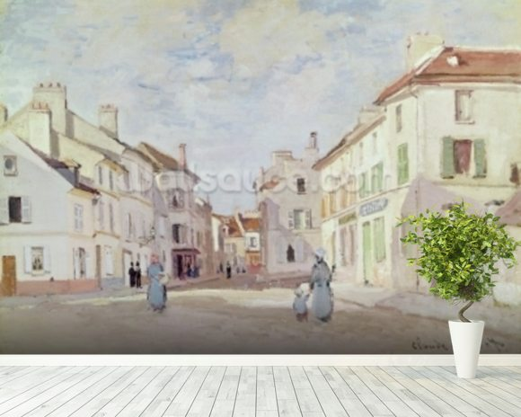 Rue de la Chaussee at Argenteuil (oil on canvas) wall mural room setting