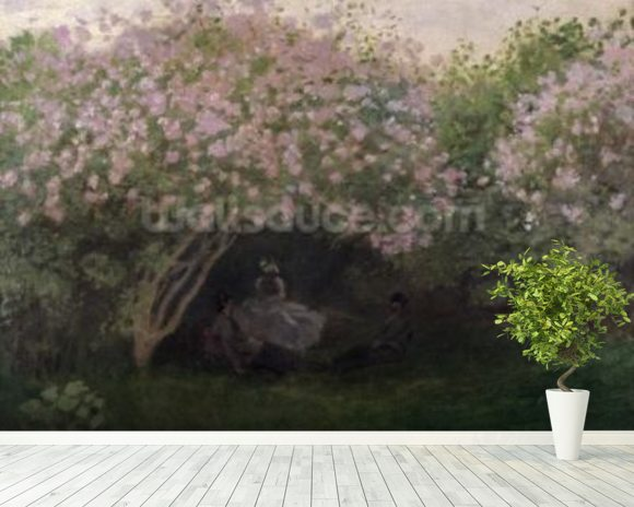 Lilacs, Grey Weather, 1872 (oil on canvas) wallpaper mural room setting