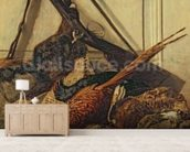 Hunting Trophies, 1862 (oil on canvas) wallpaper mural living room preview