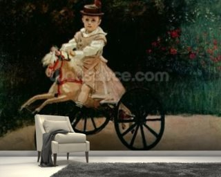 Jean Monet on his Hobby Horse, 1872 (oil on canvas) mural wallpaper