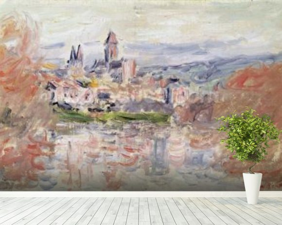 The Village of Vetheuil, c.1881 (oil on canvas) wallpaper mural room setting