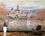 The Village of Vetheuil, c.1881 (oil on canvas) wallpaper mural kitchen preview