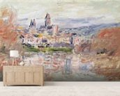 The Village of Vetheuil, c.1881 (oil on canvas) wallpaper mural living room preview