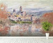 The Village of Vetheuil, c.1881 (oil on canvas) wallpaper mural in-room view