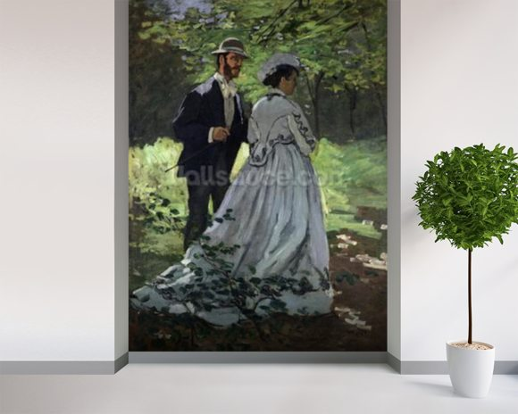 The Promenaders, or Bazille and Camille, 1865 (oil on canvas) wallpaper mural room setting