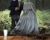 The Promenaders, or Bazille and Camille, 1865 (oil on canvas) wallpaper mural kitchen preview