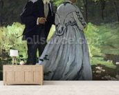 The Promenaders, or Bazille and Camille, 1865 (oil on canvas) wallpaper mural living room preview