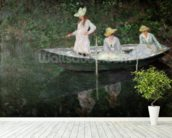 The Boat at Giverny, c.1887 (oil on canvas) mural wallpaper in-room view
