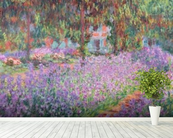 The Artists Garden at Giverny, 1900 (oil on canvas) wall mural room setting