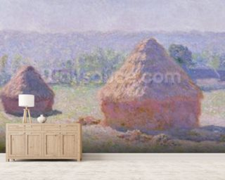 Grainstacks at the end of the Summer, Morning effect, 1891 (oil on canvas) wallpaper mural