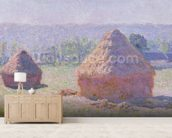 Grainstacks at the end of the Summer, Morning effect, 1891 (oil on canvas) wallpaper mural living room preview