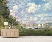 The Marina at Argenteuil, 1872 (oil on canvas) mural wallpaper living room preview