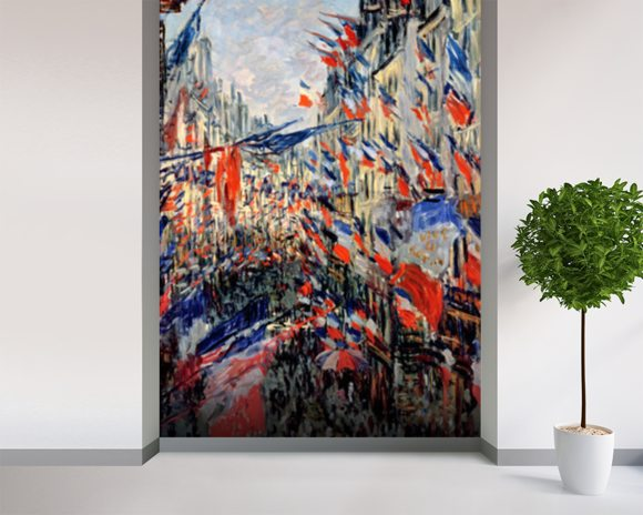 The Rue Saint-Denis, Celebration of June 30, 1878 (oil on canvas) mural wallpaper room setting