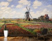 Tulip Fields with the Rijnsburg Windmill, 1886 (oil on canvas) wallpaper mural kitchen preview