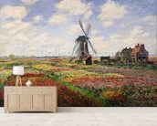 Tulip Fields with the Rijnsburg Windmill, 1886 (oil on canvas) wallpaper mural living room preview