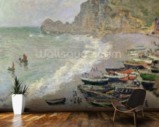 Etretat, beach and the Porte dAmont, 1883 (oil on canvas) mural wallpaper