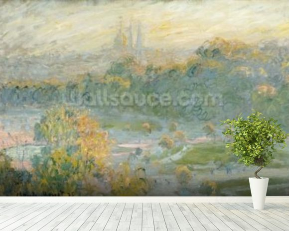 The Tuileries (study) 1875 (oil on canvas) wallpaper mural room setting