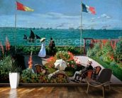 The Terrace at Sainte-Adresse, 1867 (oil on canvas) mural wallpaper kitchen preview