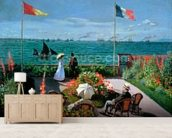 The Terrace at Sainte-Adresse, 1867 (oil on canvas) mural wallpaper living room preview