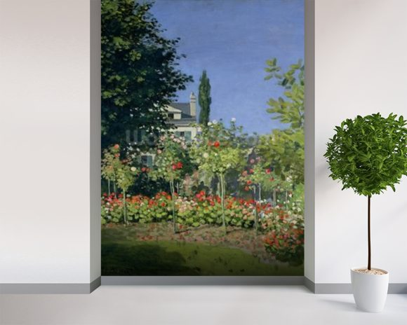 Flowering Garden at Sainte-Adresse, c.1866 (oil on canvas) mural wallpaper room setting
