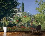 Flowering Garden at Sainte-Adresse, c.1866 (oil on canvas) mural wallpaper kitchen preview