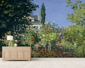 Flowering Garden at Sainte-Adresse, c.1866 (oil on canvas) mural wallpaper living room preview