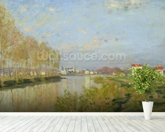 The Seine at Argenteuil, 1873 (oil on canvas) wallpaper mural room setting