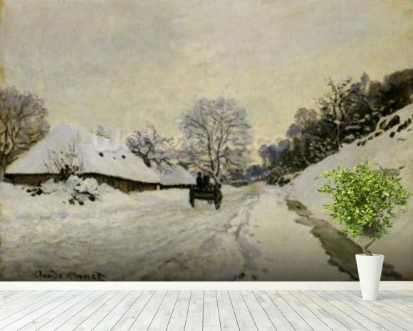 The Cart, or Road under Snow at Honfleur, 1865 (oil on canvas) wall mural room setting