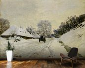 The Cart, or Road under Snow at Honfleur, 1865 (oil on canvas) wall mural kitchen preview
