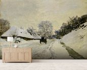 The Cart, or Road under Snow at Honfleur, 1865 (oil on canvas) wall mural living room preview