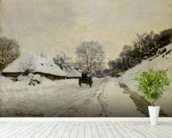 The Cart, or Road under Snow at Honfleur, 1865 (oil on canvas) wall mural in-room view