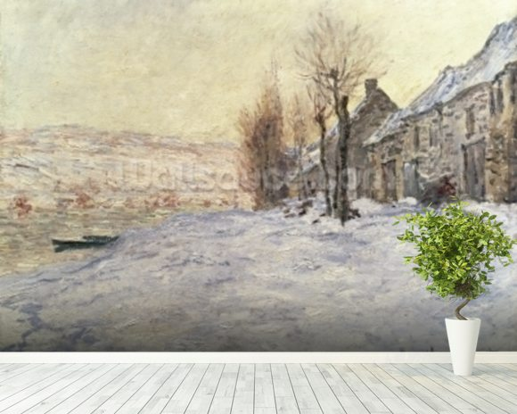 Lavacourt under Snow, c.1878-81 (oil on canvas) wall mural room setting