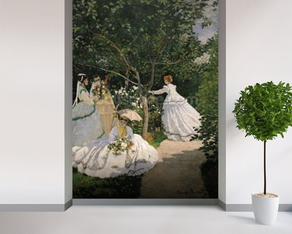 Women in the Garden, 1866 (oil on canvas) wallpaper mural room setting