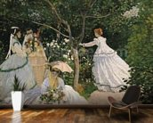 Women in the Garden, 1866 (oil on canvas) wallpaper mural kitchen preview