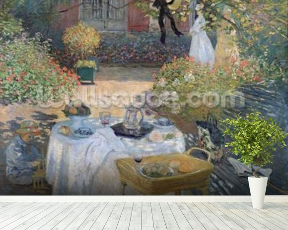 The Luncheon: Monets garden at Argenteuil, c.1873 (oil on canvas) mural wallpaper room setting