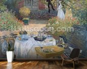 The Luncheon: Monets garden at Argenteuil, c.1873 (oil on canvas) mural wallpaper kitchen preview