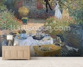 The Luncheon: Monets garden at Argenteuil, c.1873 (oil on canvas) mural wallpaper living room preview